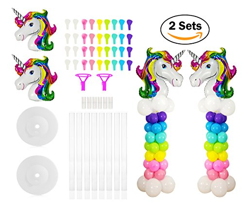 2 Sets Unicorn Balloon Column Stand Base and Pole Quick Building Kit, 5 Feet Tall and 2 lb Water Fillable Base for Wedding, Birthday Balloon Party Decorations by WYNMARTS (Unicorn Stand)