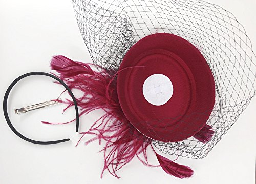 Cizoe Fascinators Hats 20s 50s Hat Pillbox Hat Cocktail Tea Party Headwear with Veil for Girls and Women (B-Burgundy) by Cizoe (Image #5)