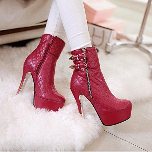 Pattern Best Round Red 13cm Black Boots Stiletto Martin PU Women's Red High 4U toe Grid Heels Zipper Shoes Short RRHAqw