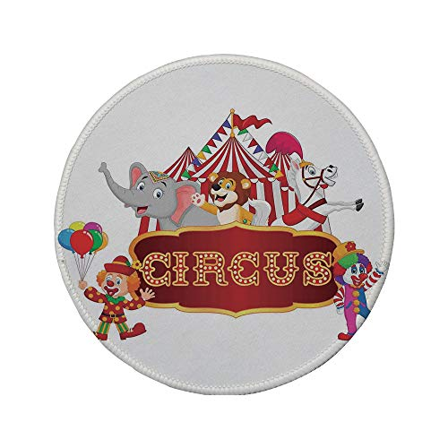 (Non-Slip Rubber Round Mouse Pad,Circus Decor,Cute Happy Fun Trained Circus Animals with Nostalgic Tent Carnival Party Show Art,Red White,7.87