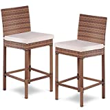 Tangkula Patio Bar Stool, 2 Piece Outdoor Patio Metal Frame Heavy All Weatherproof Wicker Barstool with Cushions, Back Support and Footrest High Stools for Outdoor, Poolside, Garden or Porch