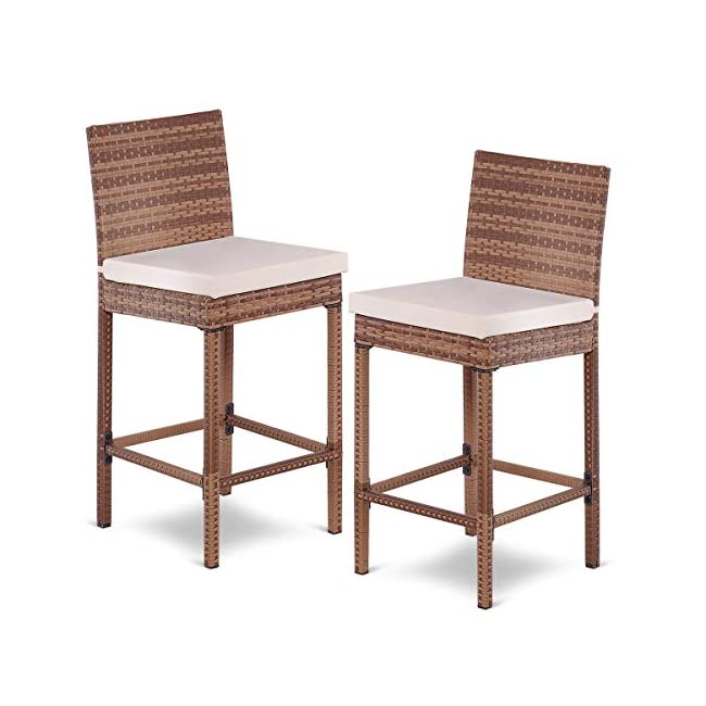 Surprising Tangkula Patio Wicker Bar Stool With Cushions And Back Support 2 Piece Unemploymentrelief Wooden Chair Designs For Living Room Unemploymentrelieforg