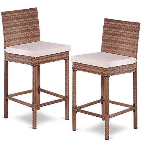 Tangkula Patio Bar Stool, 2 Piece Outdoor Patio Metal Frame Heavy All Weatherproof Wicker Barstool with Cushions, Back Support and Footrest High Stools for Outdoor, Poolside, Garden or -