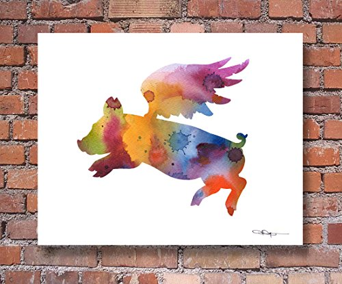Flying Pig Abstract Watercolor Art Print by Artist DJ Rogers ()
