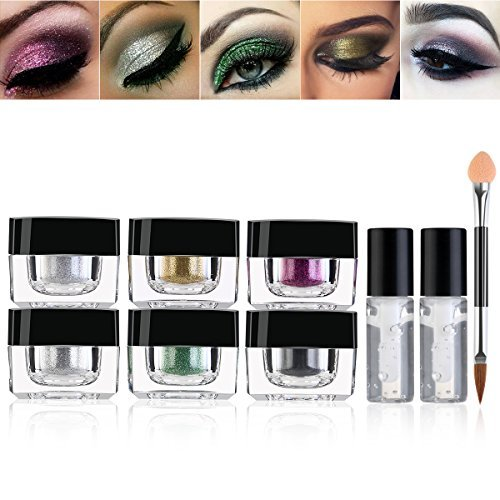Glitter Eyeshadow Palette, RUIMIO 6 Colors Highly Pigmented Eye Glitter with Gel and Brush for Party Festival Eyeshadow, Makeup, Nail Art