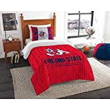 2pc NCAA Fresno State Bulldogs Comforter Twin Set, College Football Themed, Unisex, Red, Team Spirit, Sports Patterned Bedding, Fan Merchandise, Team Logo