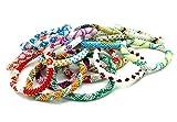Nepalese Roll on Hand Beaded Glass Seed Bead Bracelet. 6 Pcs Set. Premium Random Color Mix.