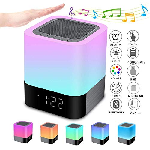Night Lights Bluetooth Speaker, Alarm Clock Bluetooth Speaker Touch Sensor Bedside Lamp Dimmable Multi-Color Changing Bedside Lamp, MP3 Player, Wireless Speaker with Lights (For Christmas Teenage Girl Best Gift)