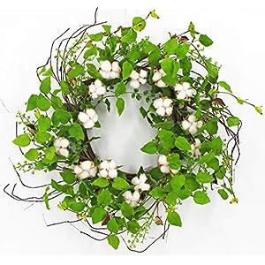 "ES ESSENTIALS Leaf Mixed Eucalyptus & Cotton Greenery Wreath, 24"" 18"
