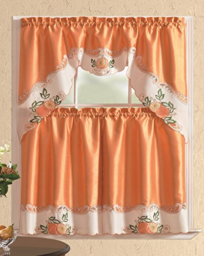 All American Collection Embroidered Fruit 3pc Kitchen Curtain Set With Swag Valance (Fall Curtains Kitchen)