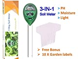 Cheap 2018 New Package – Soil ph Meter 3-in-1 soil test kit, ph, light, moisture tester for plant, 10 free bonus garden labels, Great For Gardening, Farming, Indoor, Outdoor, one year limited warranty
