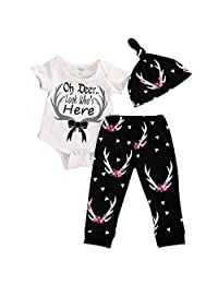 Baby Girls Clothing Set Oh Deer Look Who's Here Romper Pants Hat 3 Pieces Outfit