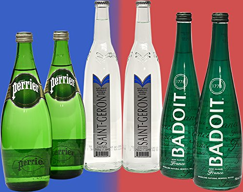 French Sparkling Water Variety Pack, (2) Perrier, (2) Saint Geron, (2) Badoit, 25.3 fl oz (6 Glass ()