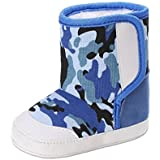 Creazrise Camouflage Baby Soft Sole Snow Boots Soft Crib Shoes Toddler Boots (0~6 Month, Dark Blue)