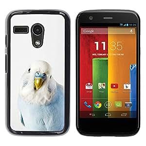 Be Good Phone Accessory // Dura Cáscara cubierta Protectora Caso Carcasa Funda de Protección para Motorola Moto G 1 1ST Gen I X1032 // Bird Parrot Blue Baby White Yellow Peak
