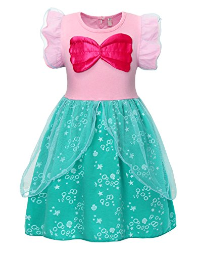 Mermaid Fancy Dress Costume (HenzWorld Little Mermaid Dress Costume Ariel Girls Halloween Cosplay Birthday Sleepwear Playwear Pajamas Ruffle Outfits 3-4)
