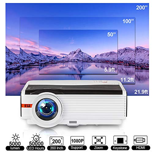 6200 Lumen Native 1080P Full HD Projector 200 Inch LCD-TFT Display Home/Outdoor Movie Projector with 50,000 HRS LED Bulb…