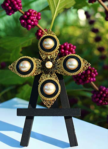 altese cross shape BROOCH pin with faux pearl hearts black glass and enamel by Inga Engele USA ()