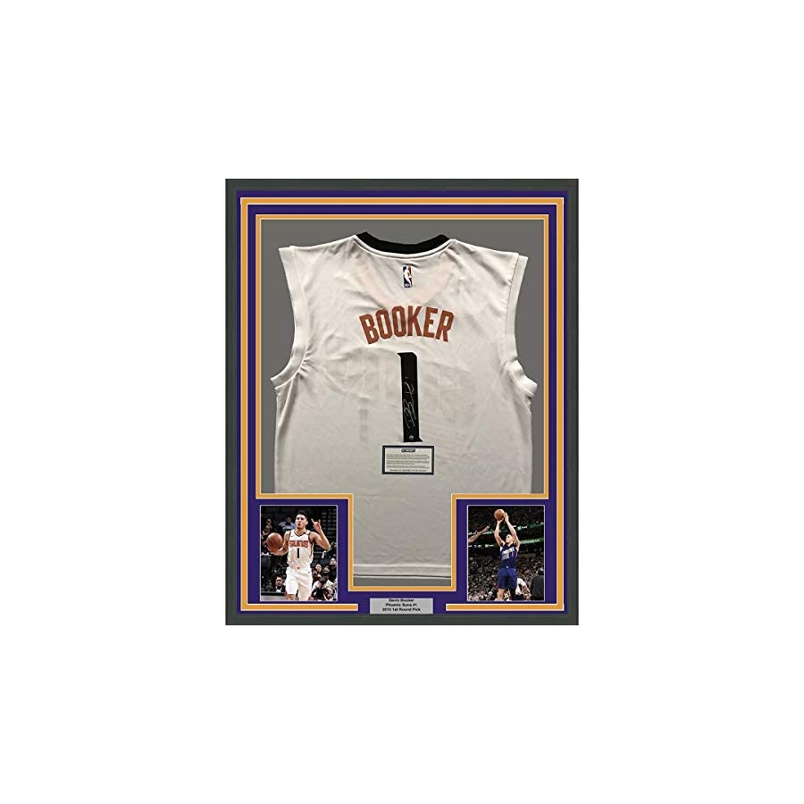 Framed Autographed Signed Devin Booker 33x42 Phoenix White Jersey Steiner Coa