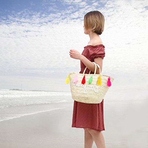 EOZY a con Nappe Borsa Donna Borsa Sacco Intrecciata Paglia Estiva Mano Spiaggia Borsa TTrqX
