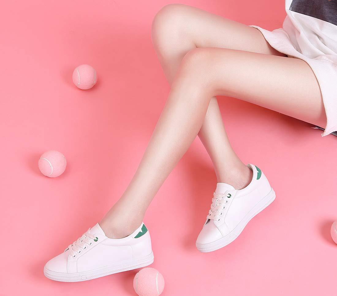 CAMEL CROWN Weiße Sneaker Schuhe Damen Low-Top Schnürhalbschuhe Flach ErhöhenSchuhe Rutschfest Leicht für Schule Casual EU36-40