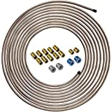 4LIFETIMELINES Copper-Nickel Brake Line Tubing Coil and Fitting Kit, 1/4 x 25