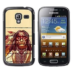 KOKO CASE / Samsung Galaxy Ace 2 I8160 Ace II X S7560M / hombre indio nativo viejas plumas esqueleto / Delgado Negro Plástico caso cubierta Shell Armor Funda Case Cover