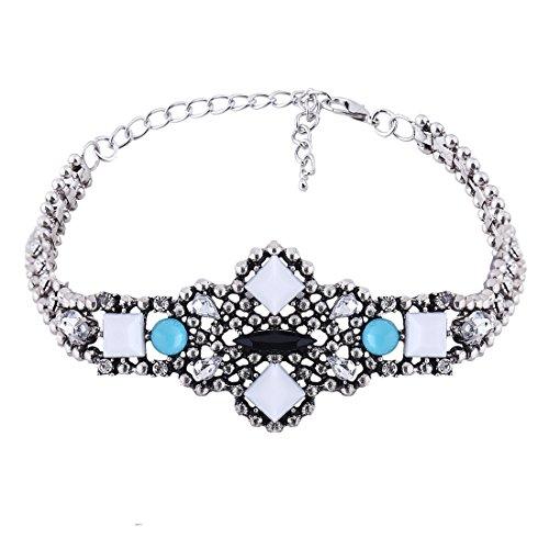 Bohemian Vintage Plata Incrustaciones resina cristal collar gargantilla collar Dangle Earring Set