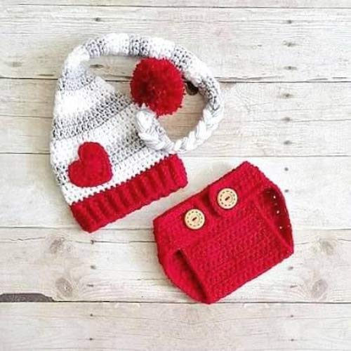 fc93a27f8e9 Crochet Baby Valentine s Day Hat Beanie Stocking Cap Diaper Cover Set  Striped Heart Infant Newborn Baby Toddler Child Adult Handmade Photography  Photo Prop ...