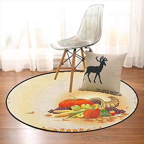 Harvest Children's Bedroom Carpet Maple Tree Frame with Rustic Composition for Thanksgiving Halloween Dinner Food Soft Fluffy D47.2 Inch Multicolor -