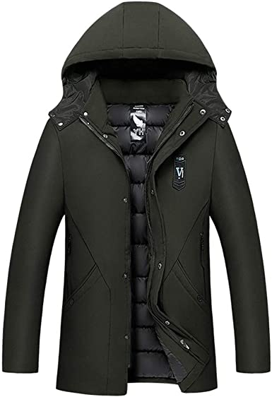 Zilosconcy puffer jacket mens hooded,OuterwearMens Winter Thickening Cotton Fleece Lined Coat Cold-proof Thermal Hooded Long-sleeve body warmer Windproof Jacket size L-5XL