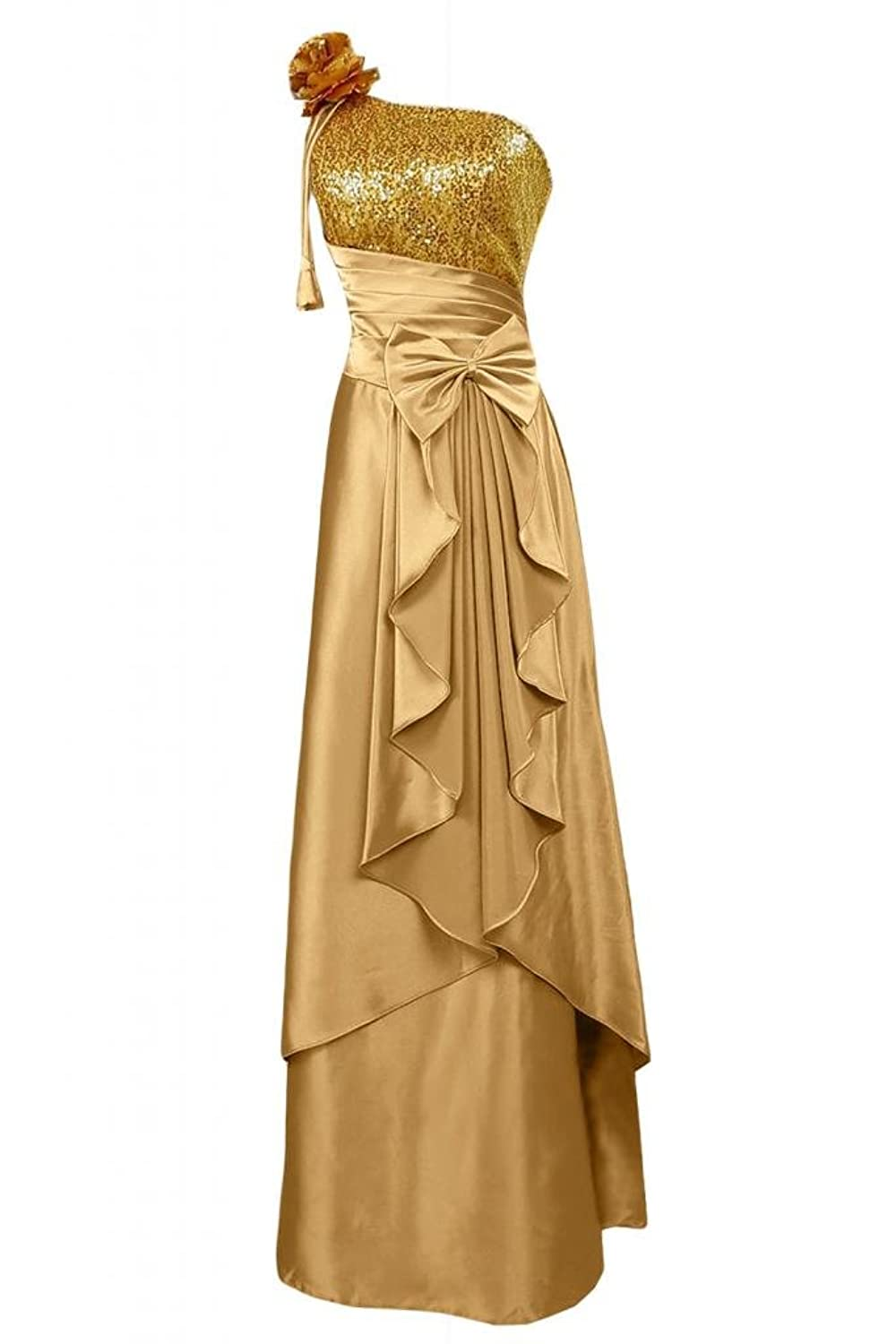 Sunvary Glamorous Satin One-Shoulder Long Evening Dress Pageant Dress