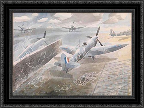 Spitfires at Sawbridgeworth, Herts 1942 24x20 Black Ornate Wood Framed Canvas Art by Ravilious, Eric