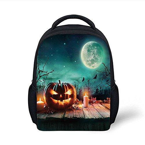 iPrint Kids School Backpack Halloween,Fantastic Magic Night Spooky Atmosphere Candles Pumpkin on Wooden Planks Print,Multicolor Plain Bookbag Travel Daypack]()