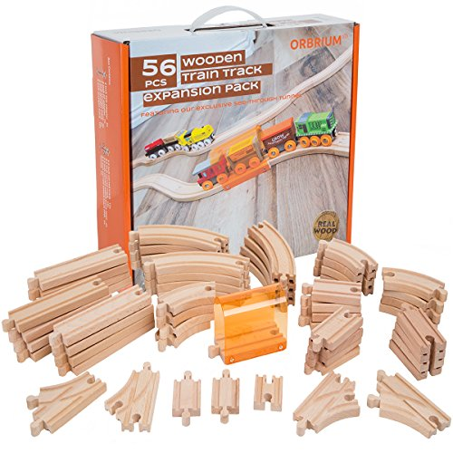 56 Piece Wooden Train Track Expansion Pack with Tunnel Compatible Thomas Wooden Railway Brio Chuggington Imaginarium Set by Orbrium Toys.
