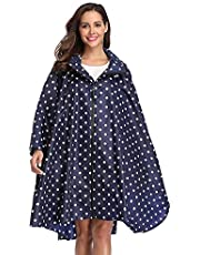 SaphiRose Hooded Rain Poncho Waterproof Raincoat Jacket for Men Women Adults