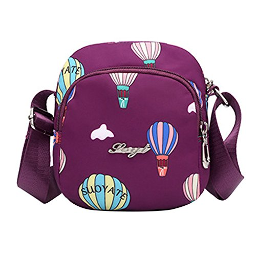 for Nylon Girls Purple Women Bag Crossbody Travel Phone Eilova Cell Purse Shoulder Bag HxPqzTtw