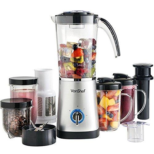 VonShef 220 240 Volts Blender, Smoothie Maker, Grinder, & Juicer 4 in 1 Blender 6.5 cups size. Bundle With Dynastar Plug Adapters & Multiple Cups | 220v 240v (NOT FOR USA)