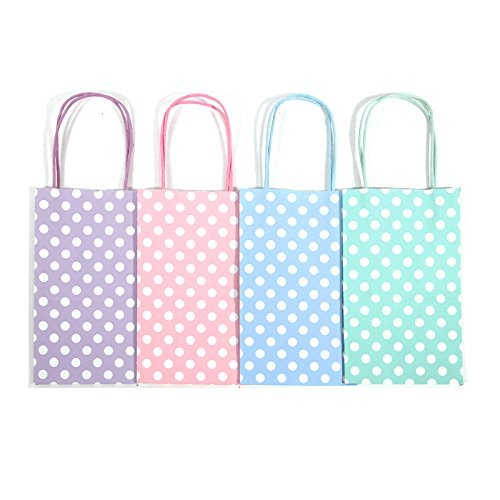 12CT Small Pastel Polka DOT Biodegradable, Food Safe Ink & Paper, Premium Quality Paper (Sturdy & Thicker), Kraft Bag with Colored Sturdy Handle (Small, P.Pastel)