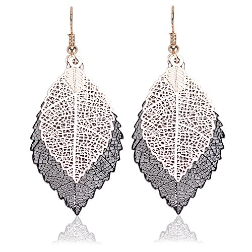 - Whiteswallow Alloy Double Leaf Pendant Simple Retro Double Color Earrings Top Fashion Jewelry for Women