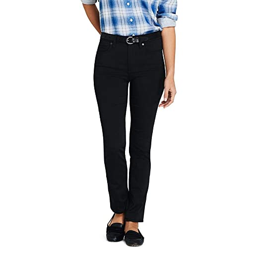 985541333b53 Lands  End Women s Tall Mid Rise Straight Leg Black Jeans at Amazon Women s  Clothing store