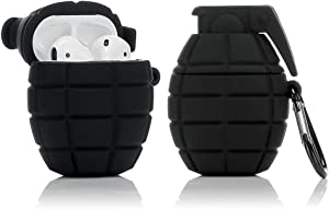 LEWOTE Silicone Case Compatible for Apple Airpods 1&2 Funny Cover[Cool Grenade Design][Best Gift for Kids Boys Girls] (Black)