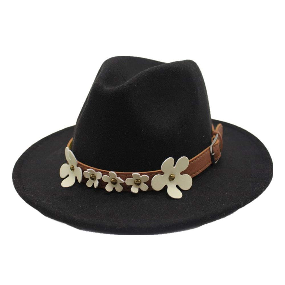 Color : Black, Size : 56-58cm Womens Fedora Hat 5-Flower Classical Sombrero Hairy Headscarf Wool Cap Sunshade Boys Hats Gmshezmh gmslxy