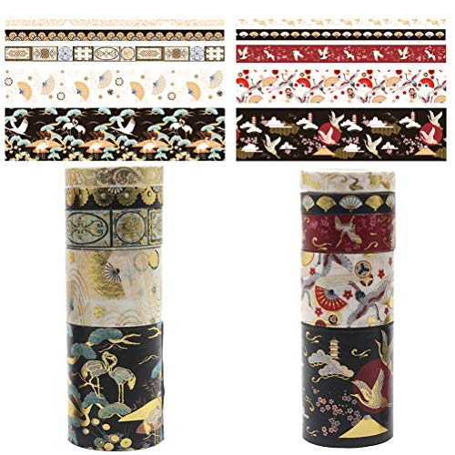 SUBCLUSTER Set of 10 Washi Tape Ancient Style Chinese Style Bronzing Hand Account Lipstick Decorative Film Stickers DIY Scrapbooking Bullet Journal, Planner, Arts & Craft Gift