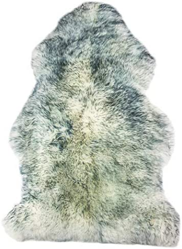 Natural Thick and Lush 2.5 inch Pile Anti-Skid Backing Hypo-Allergenic Premium Quality Luxury New Zealand Shearling 2 x 3 ft Sheepskin Area Rug Throw Single Pelt, Gradient Grey