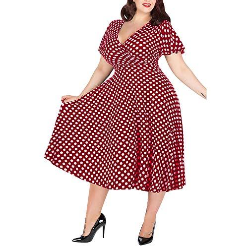 Luck Man Women's Dress Casual Plus Size V Neck Short Sleeved Belt Maxi Dress
