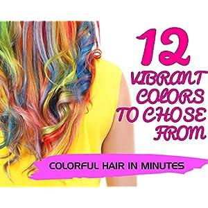 Hair Chalk Pens - Gabriells 12 Hair Color Pen Set & Face Paint Kit- Non Toxic wax - Best Gift for Girls, Boys, Children, Men and Women - Temporary Colors