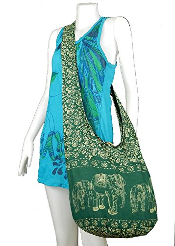 Beautiful Elephant Prints Dark Green Hippie Shoulder Bag Tote Purse Cotton Bag