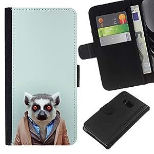 YiPhone /// Tirón de la caja Cartera de cuero con ranuras para tarjetas - Hipster Leemur en el juego - HTC One M9