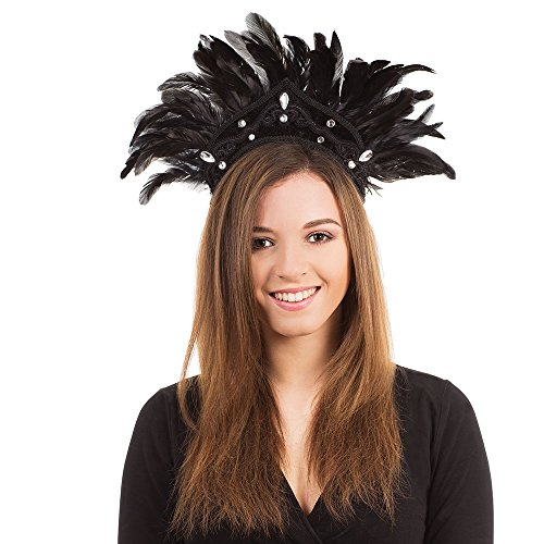 Bristol Novelty BA438 Carnival Headdress Feather for Fancy Dress, Black, One -